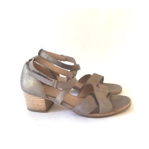 5271a3fe5c7e Eileen Fisher Shoes - Eileen Fisher strappy metallic block sandal heels